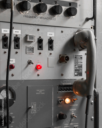 Control Panel With Switch Board And Telephone Receiver Canvas Print