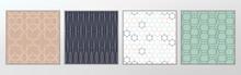 Vector Luxury Line Art Pattern Set, Green, Blue White & Pink
