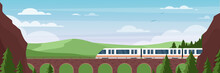 Train Traveling On Bridge In Summer Landscape Vector Illustration. Cartoon Flat Express Electric Train Travels By Rail Road, Railway In Middle Of Mountain Scenery And Green Trees. Adventure Background