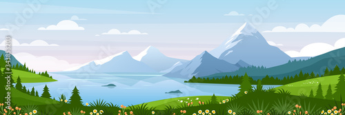 Fototapeta Mountain lake landscape vector illustration. Cartoon flat panorama of spring summer beautiful nature, green grasslands meadow with flowers, forest, scenic blue lake and mountains on horizon background obraz