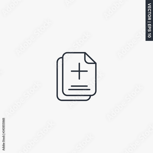 Photo Add document, linear style sign for mobile concept and web design