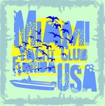 Florida Miami South Beach T Shirt Print Embroidery Graphic Design Vector Art
