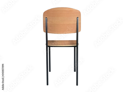 Back side of modern minimal chair - wooden base and backrest and black steel stands Canvas Print