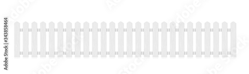 Fotomural New White Wooden Fence Isolated On White Back