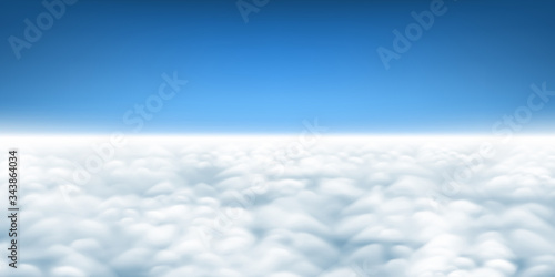Obraz Above the clouds panorama vector, cloudscape view from above, plane flight view of clouds, sky and horizon - fototapety do salonu