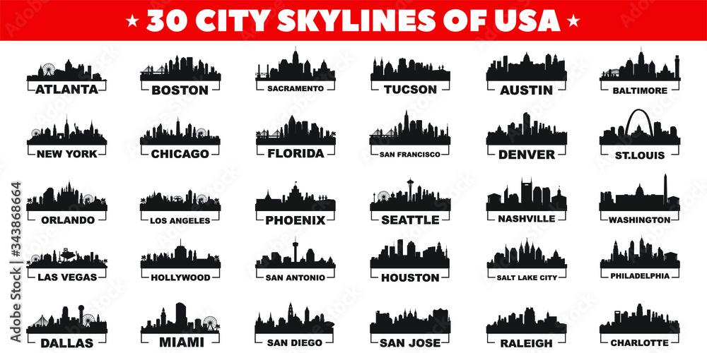 Fototapeta 30 city skyline silhouettes of United States of America vector design