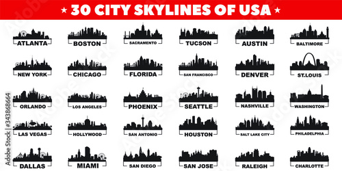 Fototapeta 30 city skyline silhouettes of United States of America vector design obraz