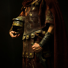 Roman Soldier With His Armor And With Black Background