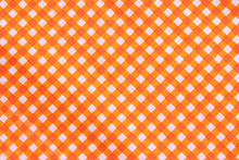 Classic Orange Plaid Fabric Or Tablecloth Background