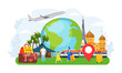 Travel tourist people concept, vector illustration. Adventure around world, tourism vacation by airplane, holiday journey. Family with suitcases abroad, active holiday, sightseeing popular places.