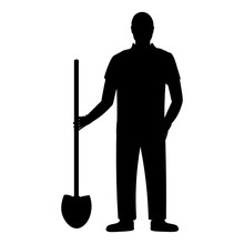 Silhouette Of A Farmer With A ...