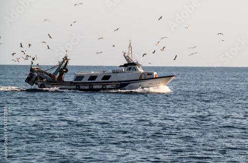 Photo Fischerboot auf der Rückfahrt vom Fang in einen Spanischen Hafen  begleitet von