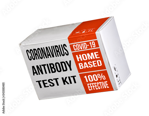 Mockup of a Covid-19 immunity antibody test kit suitable for home use to determi Canvas Print