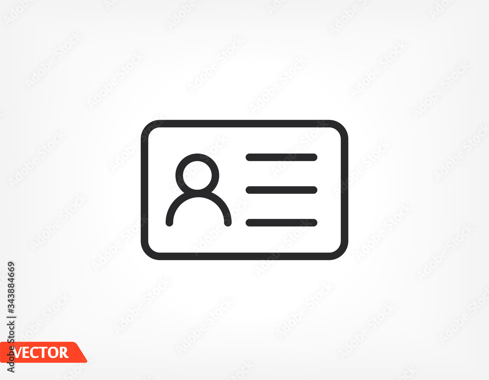 Fototapeta Identification card outline icon isolated on background. Identification card , Identification card logo,. Editable stroke. Vector illustration. Eps 10 Identification card