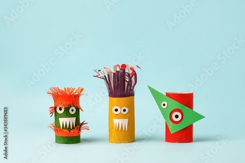 Fototapeta Antistress art therapy coronavirus pandemic, halloween concept - monsters from toilet paper roll tube