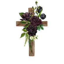 Christian Wooden Cross Decorated With Flowers And Leaves