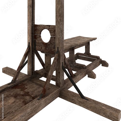 Fotografie, Tablou Guillotine - 3d illustration isolated on white background