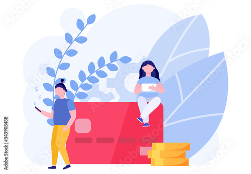 Modern people save money in mobile banking concept and vector illustration on white background Wallpaper Mural