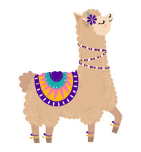 Fashionable Llama Character In Pyjamas, Glasses, Camp Concept And Vector Illustration On White Background. Beautiful And Playful Herbivore Animal, Cheerful Llama With Big Ear. Flat Style.