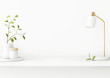 Leinwanddruck Bild - Interior wall mockup with green tree branch in vase, ceramic decore and  desk lamp standing on the shelf on empty white background with free space on center. 3D rendering, illustration.