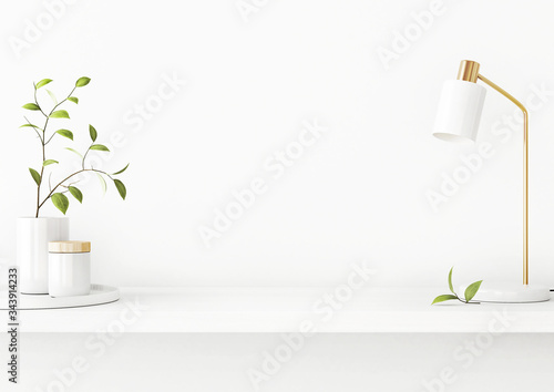 Cuadros en Lienzo Interior wall mockup with green tree branch in vase, ceramic decore and  desk lamp standing on the shelf on empty white background with free space on center