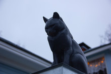 Cat Statue At One Of The House...