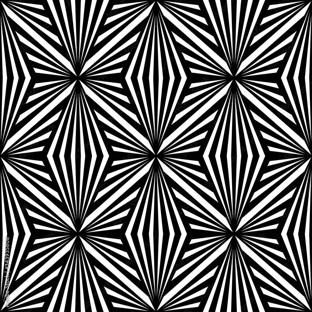 Art Deco pattern. Vector black white background. Luxury seamless ornament