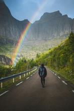 Norway, Lofoten Islands, Man W...