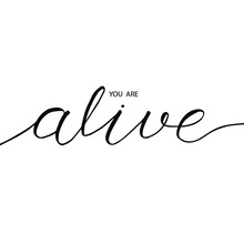 "You Are Alive Phrase In Brush Pen Calligraphy. Vector Hand-drawn Positive Words. Brush Lettering Of ""you Are Alive"". Motivation Phrase For A Card, T-shirt, Poster."
