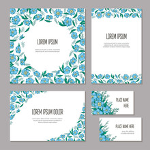 Set Floral Abstract Template E...