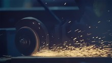 Beautiful Golden Sparks Come From The Welding Wheel, Metal Production Industrial Line, Modern Factory, Close Up, Slow Motion