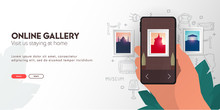 Online Gallery Or Museum. Palm With Smartphone On The Hand Draw Doodle Elements.