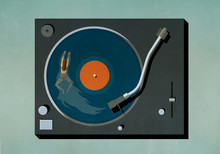 Woman Swimming In Vinyl Record...