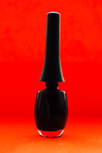 Black Nail Polish Bottle On Re...