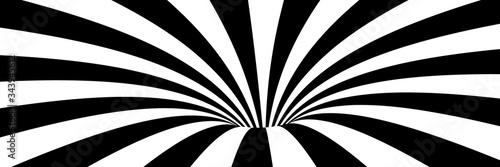 Naklejka premium Streszczenie ilustracji wektorowych wiru z liniami. Modne tło 3d w stylu op-art, złudzenie optyczne. Długi poziomy baner