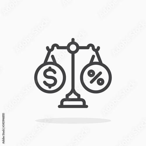 Photo Financial balance icon in line style. Editable stroke.