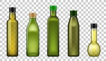 Olive Oil Bottles, Vector Realistic 3D Isolated Mockup Templates. Extra Virgin Olive Or Sunflower Oil Glass Bottles With Cap Lids, Spanish, Italian And Greek Oil Package Blank Objects