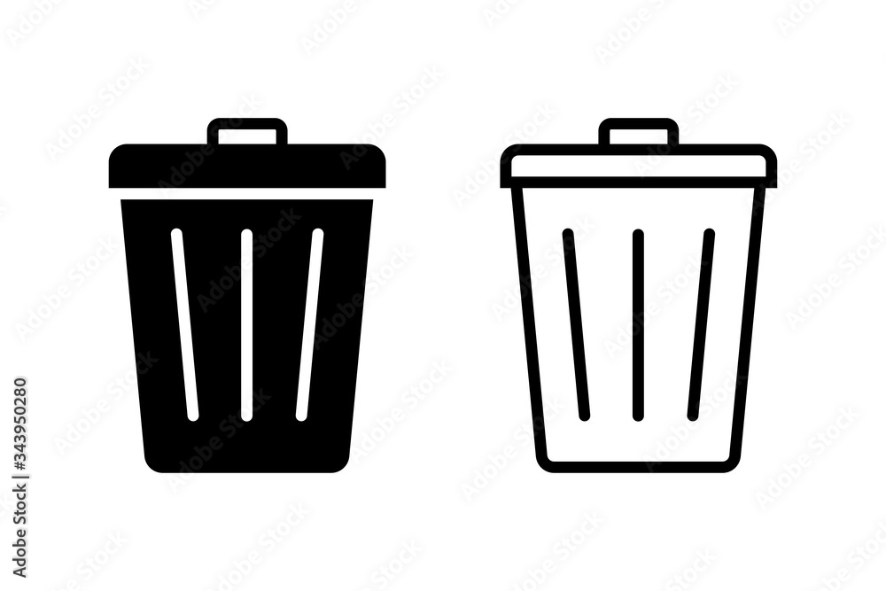 Fototapeta Trash bin. Vector isolated icons. Black vector trash dusbin sign icon isolated elements.