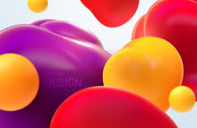 Colorful Flowing Bubbles. Vector 3d Illustration. Abstract Background. Soft Translucent Smooth Balls. Lava Lamp Liquid Shapes. Fluid Spheres. Modern Banner Or Cover Design