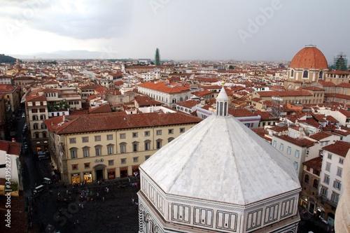 Fototapeta Baptysterium na tle panoramy miasta - Florencja, Toskania, Wlochy obraz