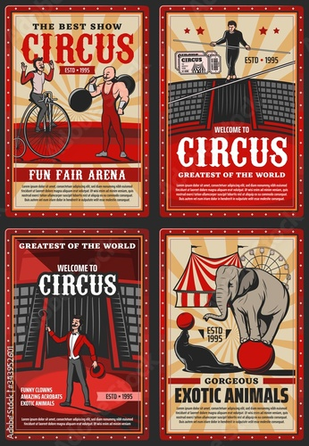 Circus and funfair arena show, vector vintage retro posters Canvas Print