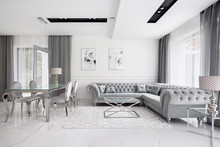 Glamour White And Gray Living ...