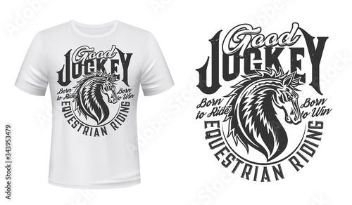 Photo Jockey club horse vector print for t-shirt mockup