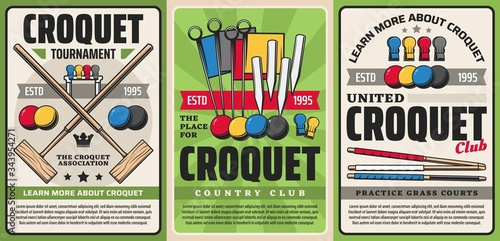 Croquet sport club tournament and country team championship, vector vintage posters Canvas-taulu