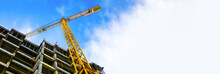 Construction Site And Yellow Crane On The Background Blue Sky, Panoramic Mock-up