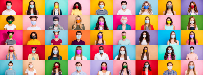 FototapetaPhoto multiple montage image of student kid afro human people of different age and ethnicity wearing surgical disposable and fabric breathing masks isolated over bright colorful background
