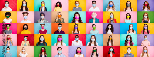 Photo multiple montage image of student kid afro human people of different age and ethnicity wearing surgical disposable and fabric breathing masks isolated over bright colorful background