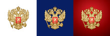 Russian Double-headed Eagle, Gold Handcraft Russian Empire And Russian Federation Coat Of Arms, Heraldic Symbol On A Transparent, White, Blue And Red Background Vector Illustration