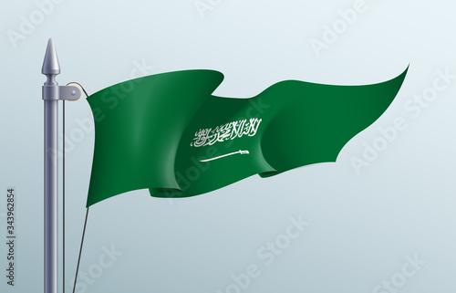 Photo Saudi Arabia flag state symbol isolated on background national banner