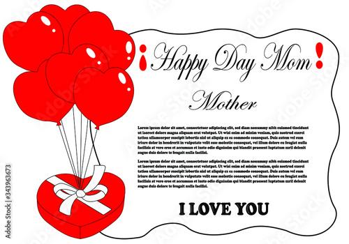 Fotomural día de la madre, tarjeta de felicitación para el día de la madre, con globos en